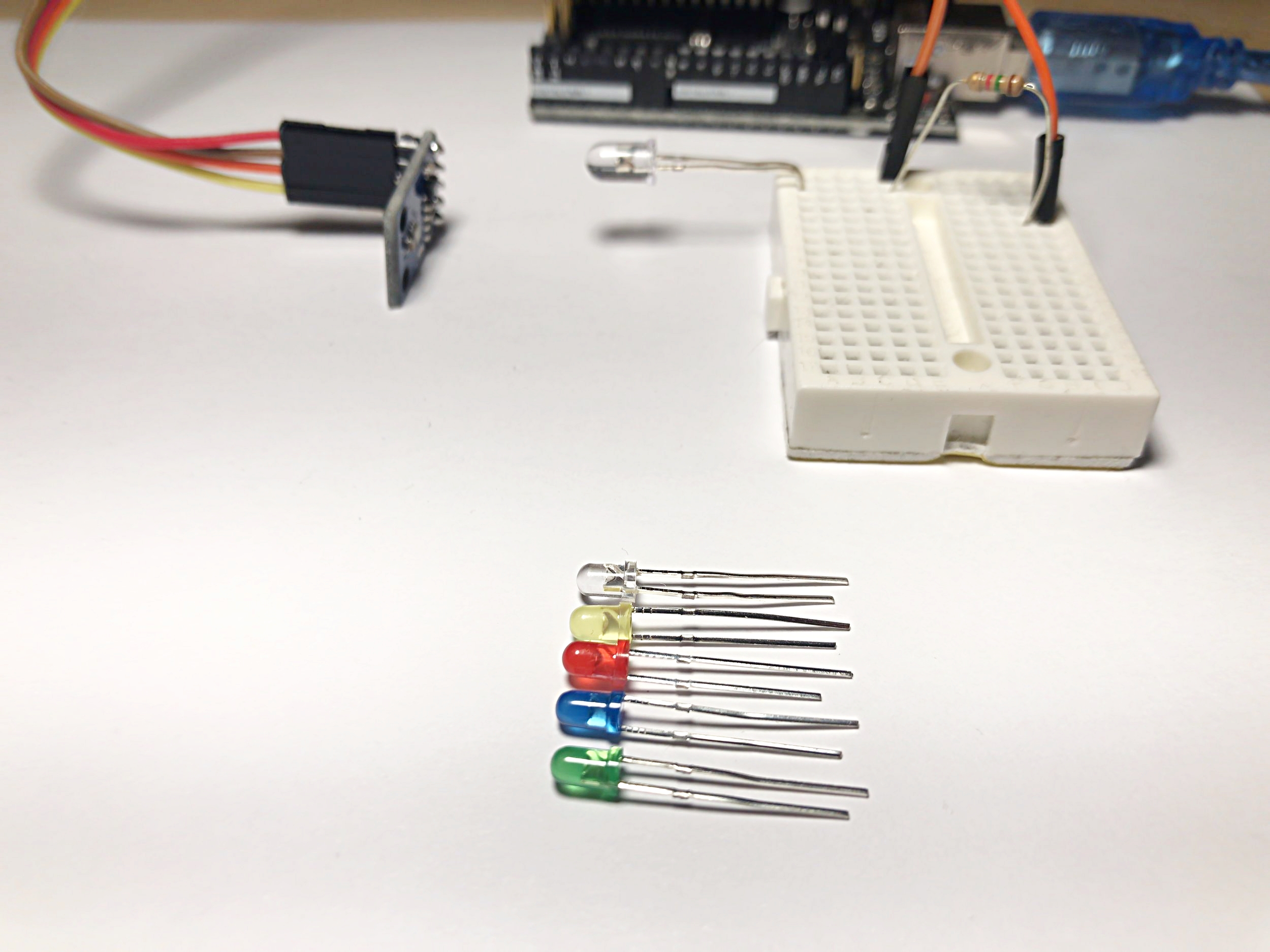 Figure 3:  Setup of experimental procedure where I measure the visible and infrared signals from each LED.