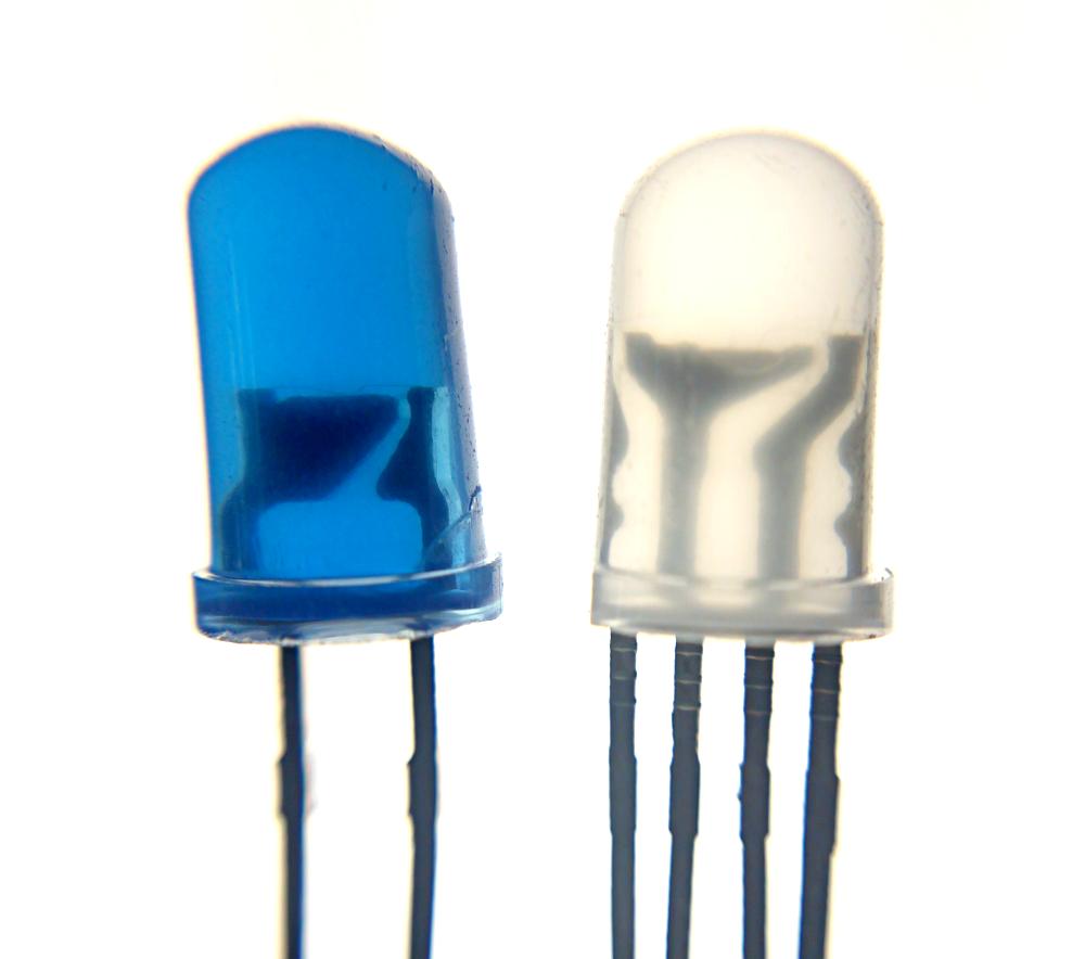 Figure 1:  RGB LED (right) vs. Regular LED (left)