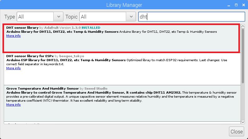 DHT Sensor Library from Adafruit -