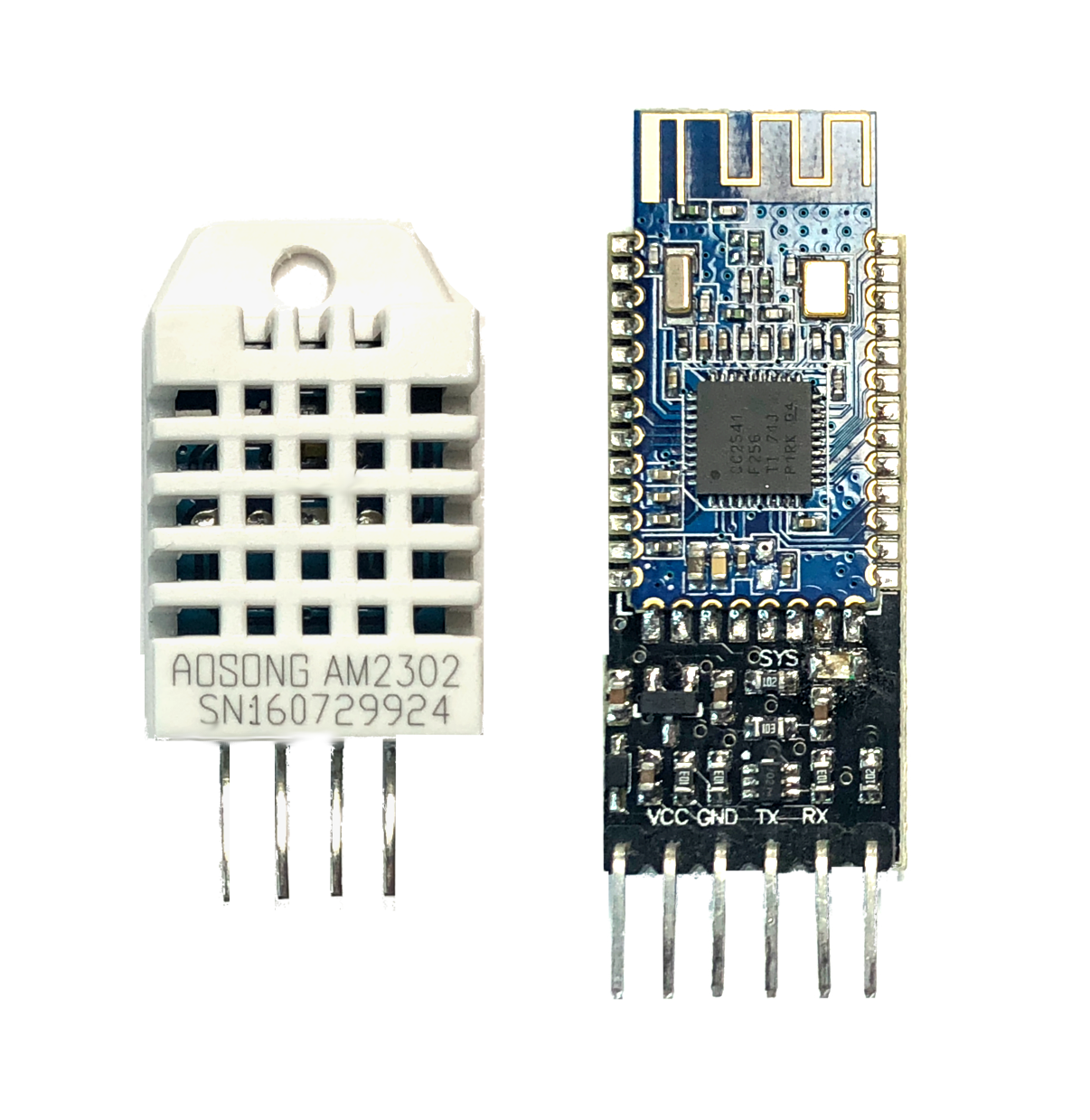 Figure 2:  DHT22 Temperature Sensor and HM-10 Bluetooth Module for