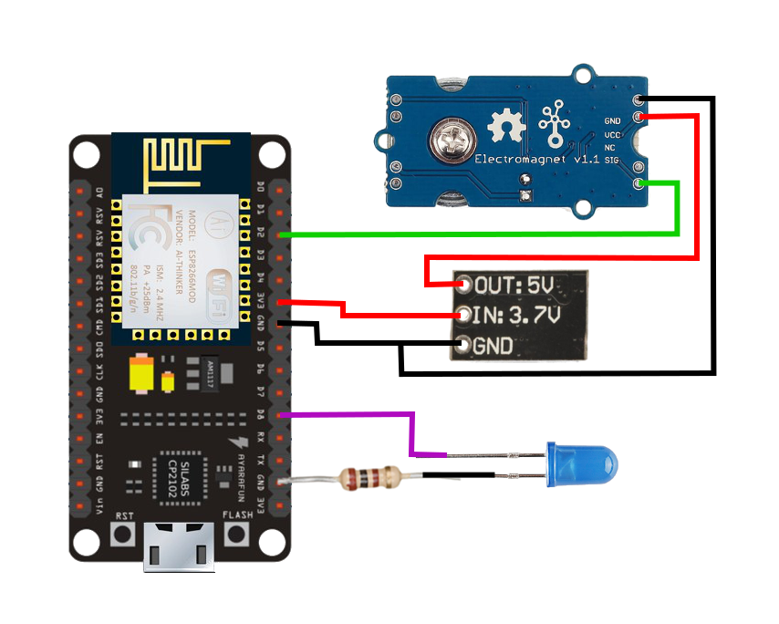 Wiring for NodeMCU Server Control -