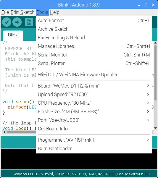 "- 6. Go to: Tools -> Board -> ""WeMos D1 R2 & mini"""