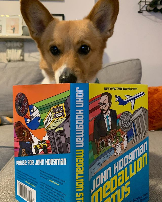 @nemothecorgipup knows what it's like to be less famous than those two celebrity Corgis, so #MedallionStatus by @johnhodgman hit particularly hard.  Go get the book. It's delightful.  Yes, my dog can read and no I will not show you how to make your pets literate.