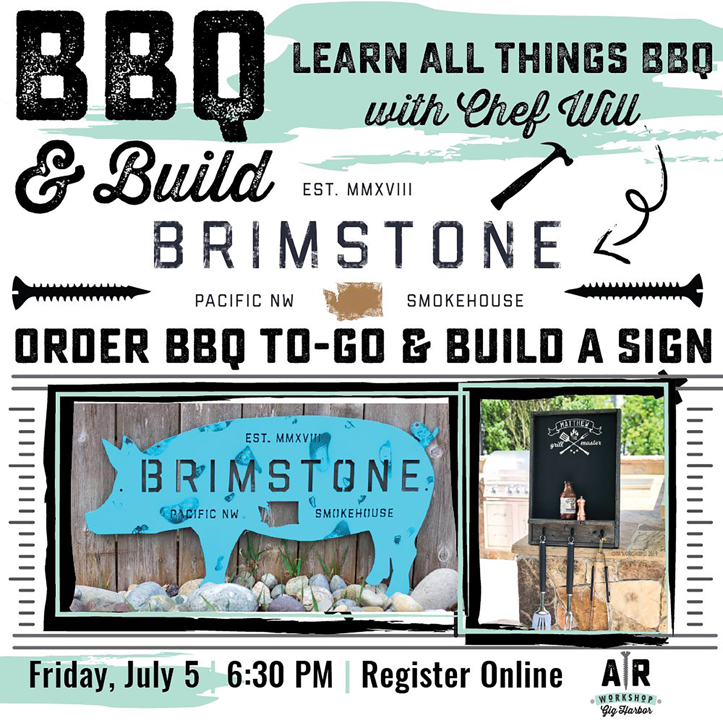 SPECIALTY WORKSHOP - BRIMSTONE BBQ & BUILD - This workshop will get you ready for your holiday weekend celebrations! Chef Will from Brimstone PNW Smokehouse, will guide you through ALL THINGS BBQ- from meat selection and preparations to serving styles, as well as offering mouth-watering samples from his smokehouse menu.Pre-order a