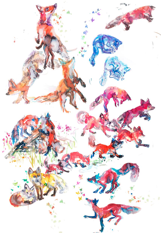 foxestableau b - ARTWORK DETAILS:Fine Art print of original watercolor painting.Limited editionWidth: 68 cm (approx 27
