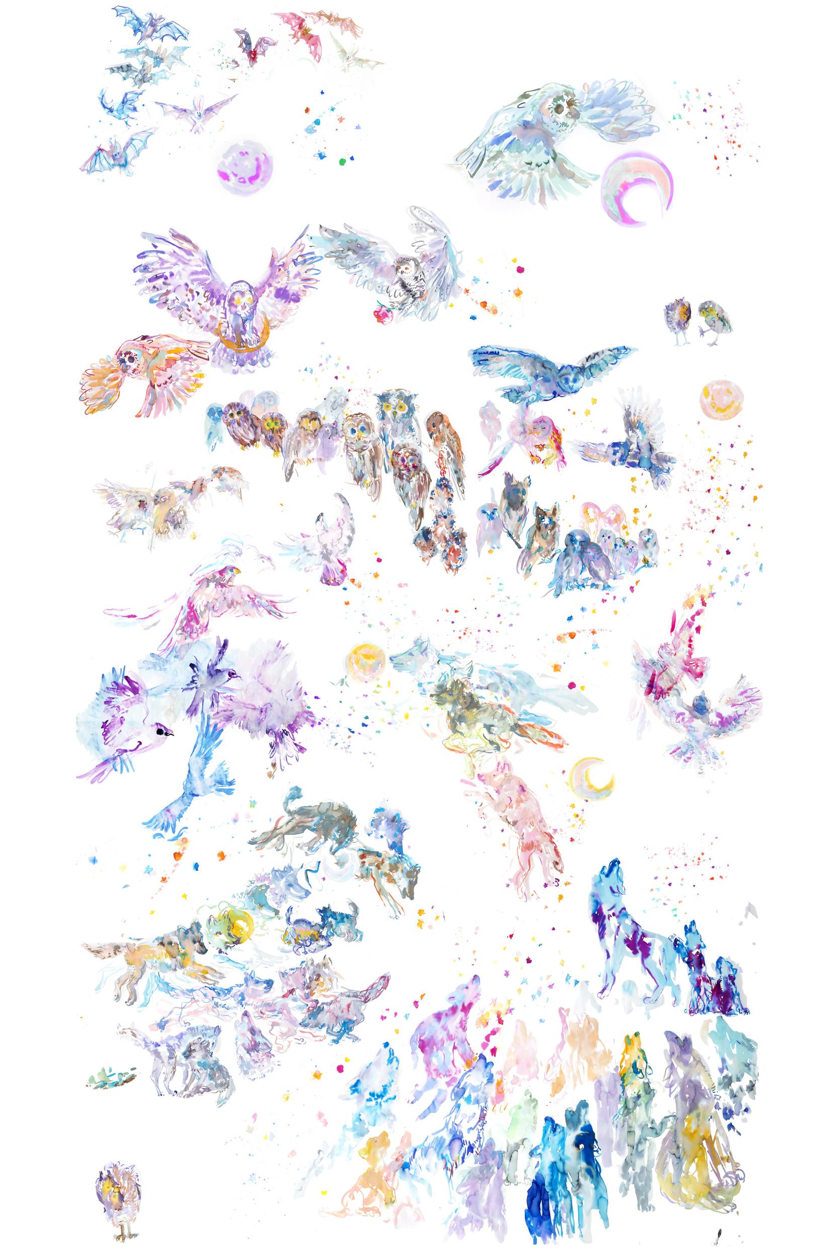 howling Mural - ARTWORK DETAILS:ARTWORK DETAILS:Fine Art print of original watercolor painting.Limited editionWidth: 111 cm (approx 44