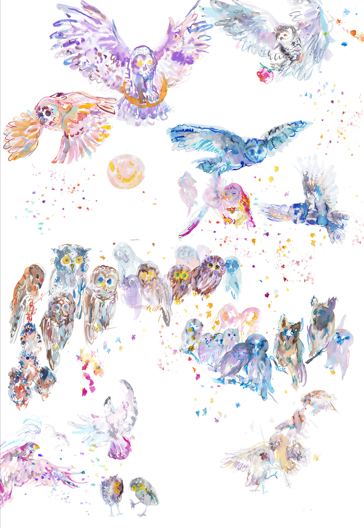 howlingtableau a - ARTWORK DETAILS:Fine Art print of original watercolor painting.Limited editionWidth: 68 cm (approx 27