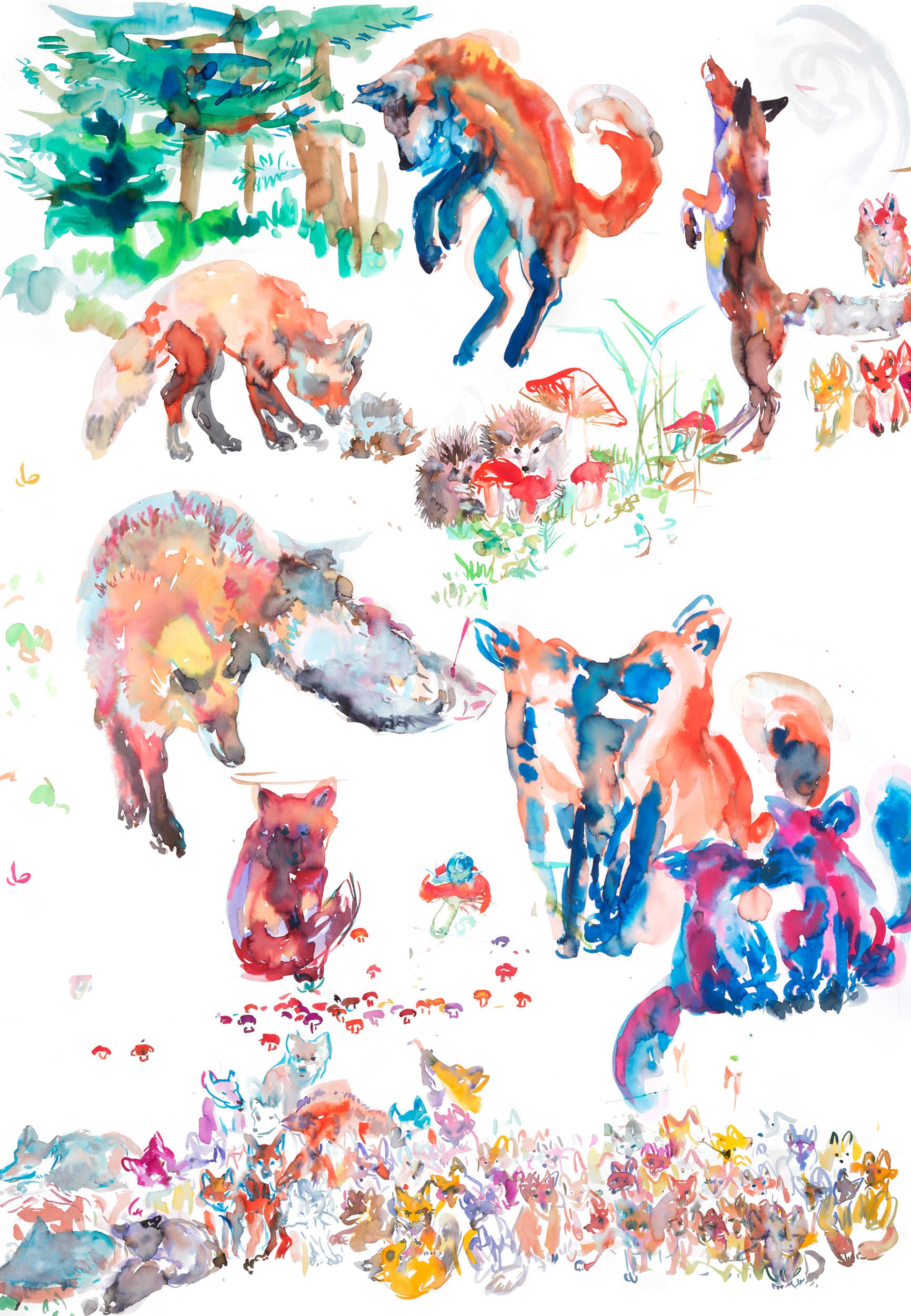 foxestableau a - ARTWORK DETAILS:Fine Art print of original watercolor painting.Limited editionWidth: 68 cm (approx 27