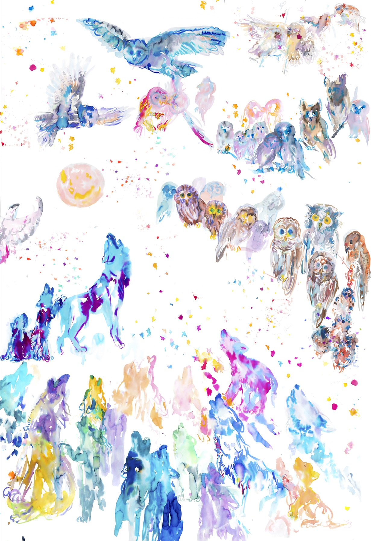 howling tableau b  - ARTWORK DETAILS:Fine Art print of original watercolor painting.Limited editionWidth: 68 cm (approx 27
