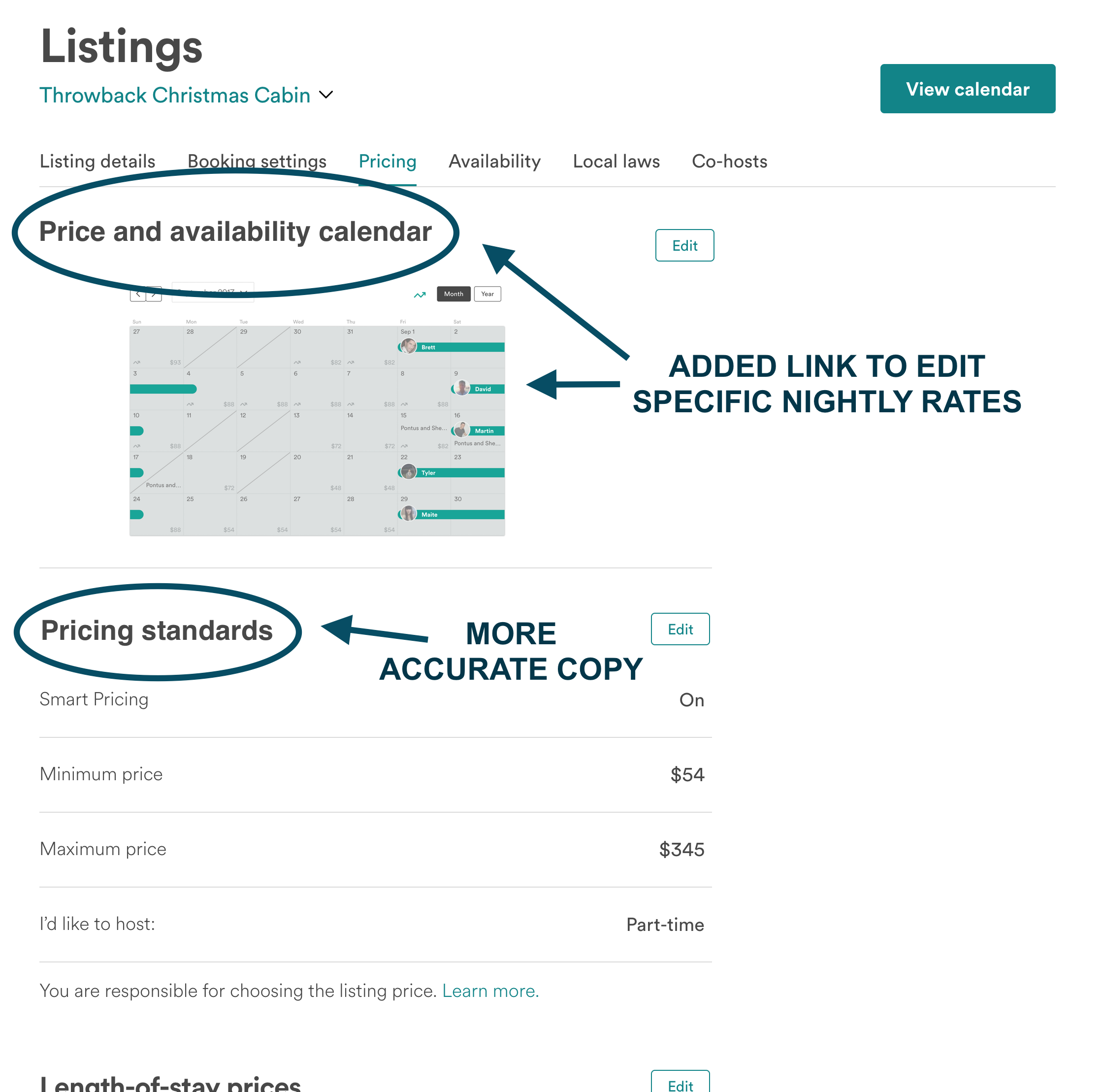 Pricing Settings: UX Update - The updated design improves the user experience by clarifying existing functionality: