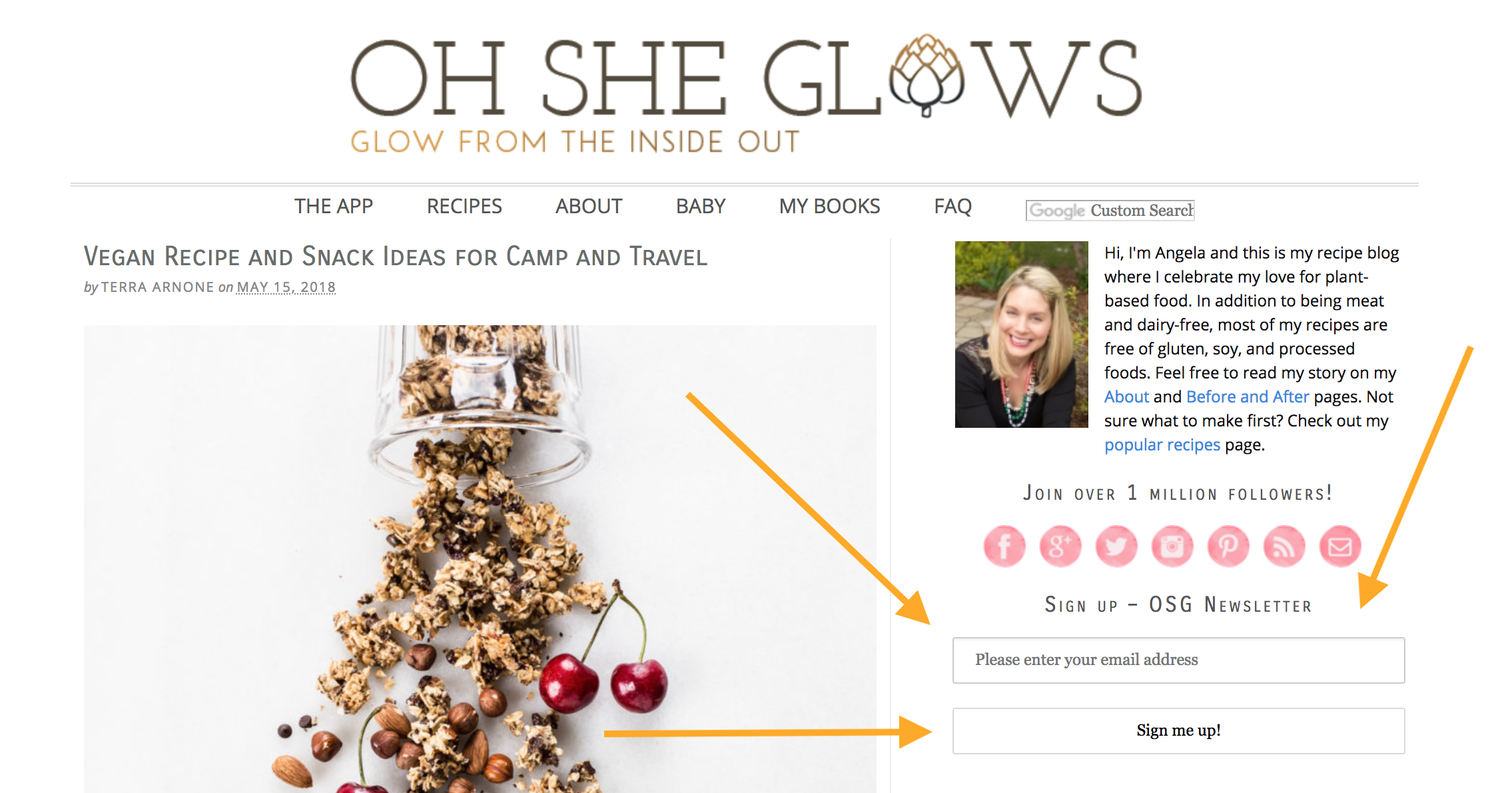 Oh She Glows includes a one-field, embedded mailing list signup form directly on their homepage.