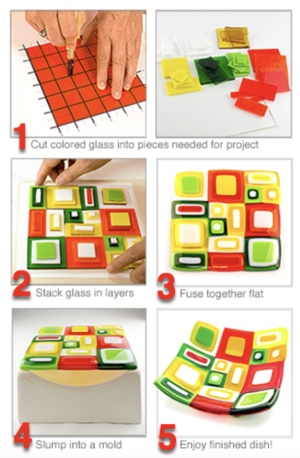 Introduction to Warm Glass Fusing - What is Warm Glass Fusing? At its simplest, glass fusing is a process in which formulated compatible* glass is assembled and then melted/fused together in a kiln. The illustration to the right breaks down the basic steps required to make a colorful geometric dish by simply cutting and stacking blocks of Transparent & Opalescent color onto a glass base. After cutting and stacking layers of compatible glass together, the project was put in a kiln and fired hot enough to melt the layers together. To form the piece into a dish, it was placed on a ceramic mold and fired a second time — just to the softening point — causing the glass to take the shape of the mold.To learn basic glass cutting skills, join our afternoon class on Wednesday and Thursday afternoons from 3:00P.M.-4:00P.M. Each Class will be done on a 4x4 tile. If you would like to upgrade to a larger size you may do so at check out. All ages are welcome( project may be altered for younger children) Recommended age is 8yrs and up.