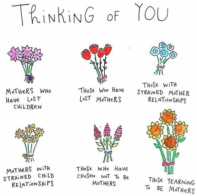 And while this day is so beautiful and filled with so much love and gratitude it's also important to remember that for some this day isn't the happiest of holidays. And for those of you that this applies, just know you are loved and you are strong regardless of if today makes you feel otherwise 💕🌸💐🌷art credit to @bymariandrew