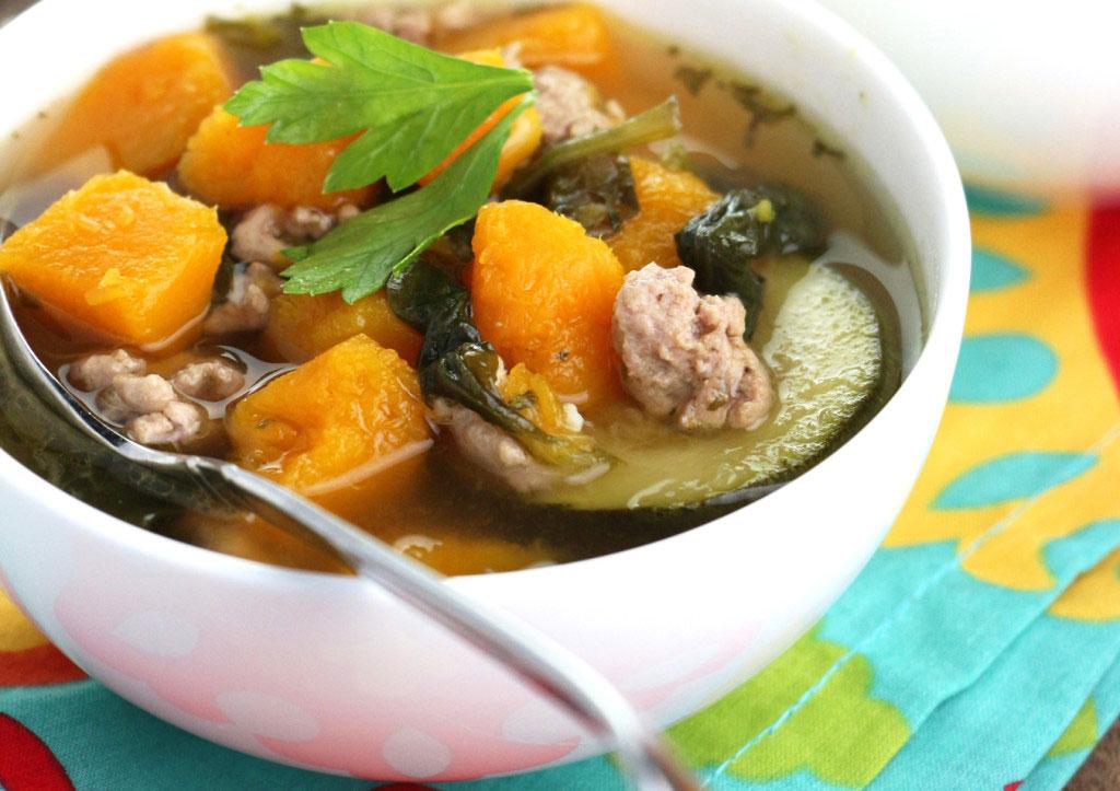 Squash Turkey Zucchini Soup -