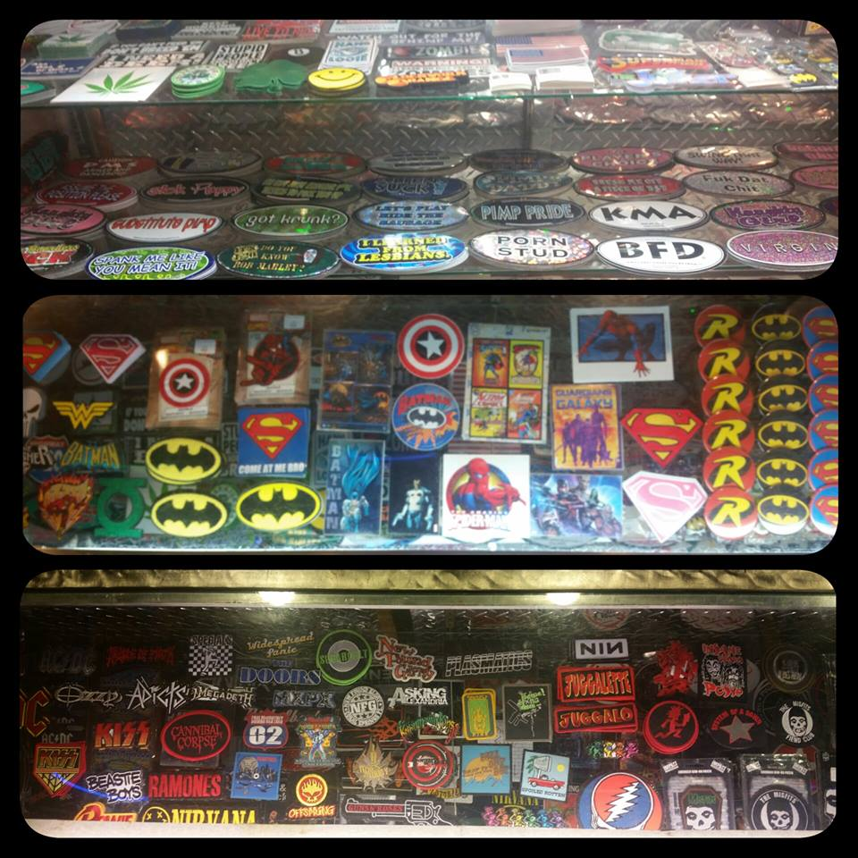Stickers, Patches, Pins - We have a great selection of stickers , patches, and pins from movies, music and comics and more.