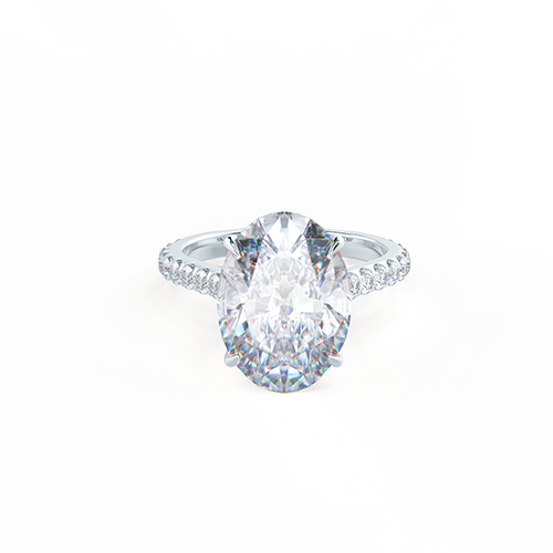 Oval Pave Solitaire Photo Rendering