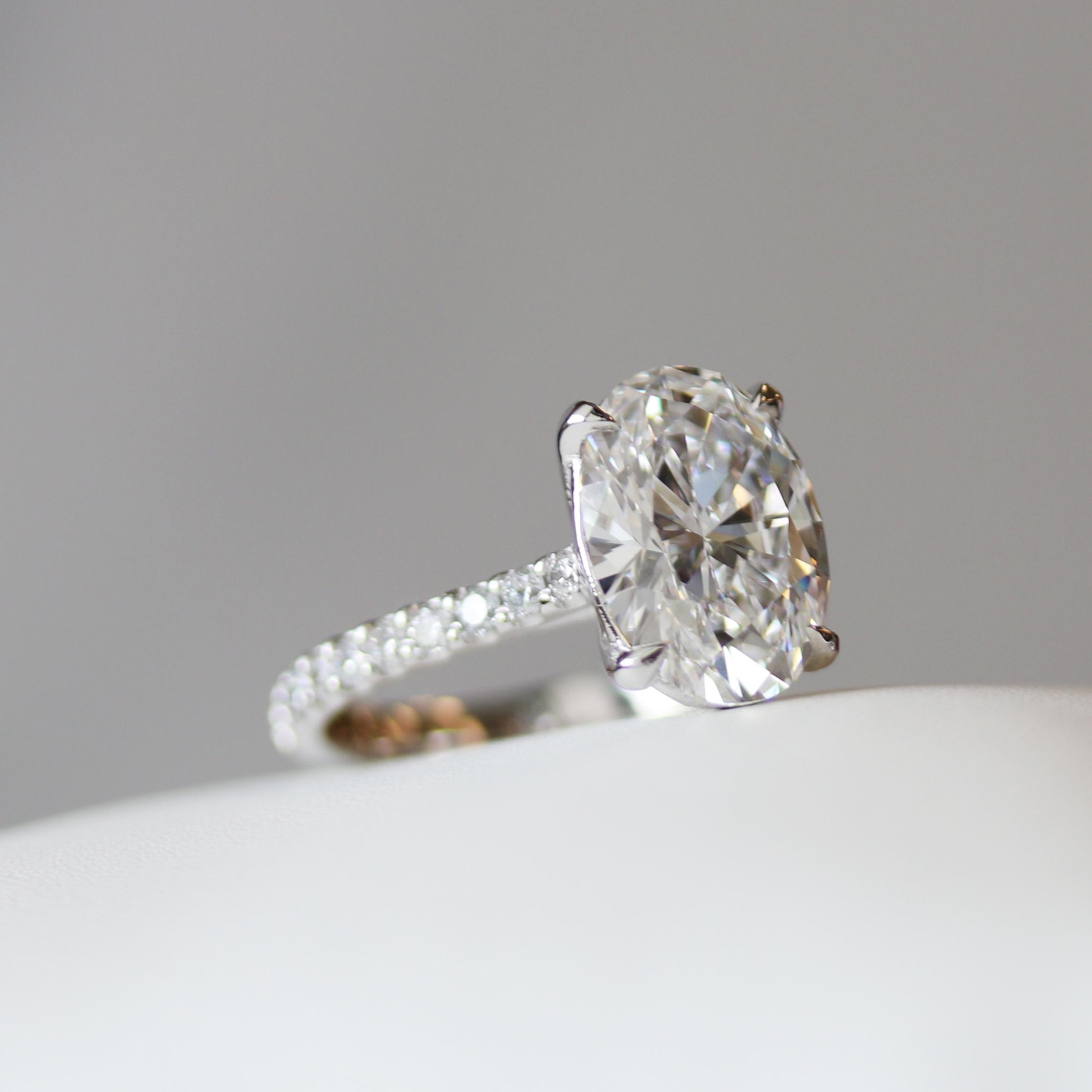 3 carat lab grown oval diamond engagement ring by Ada Diamonds