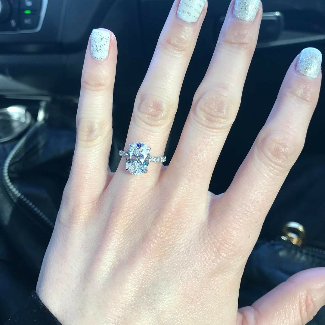 Oval Pave Lab Created Diamond Engagement Ring in Platinum