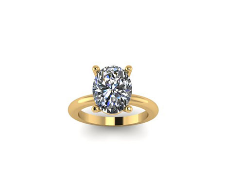 Yellow Gold Oval Solitaire Rough Rendering 3