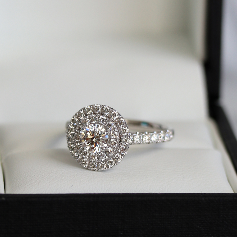double halo lab grown diamond engagement ring g