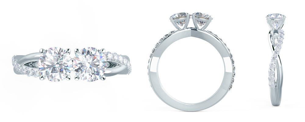 Two stone diamond band lab diamond infinity twist engagement ring