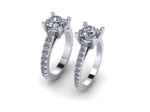 lab grown diamond band engagement ring side by side rendering