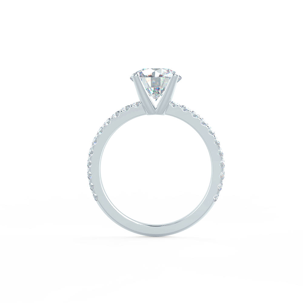 Four Prong Pave Lab Created Diamond Engagement Ring Profile View