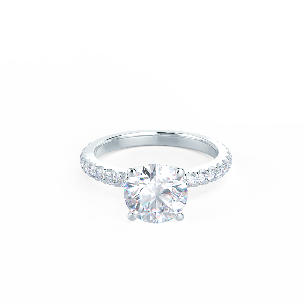 Four Prong Pave Lab Created Diamond Engagement Ring