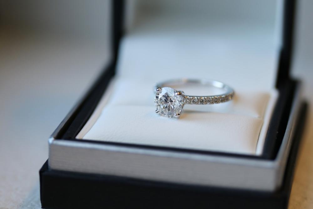 Ada Diamonds Pave Solitaire lab diamond engagement ring