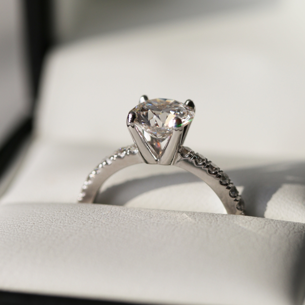 Ada Diamonds Pave Solitaire engagement ring