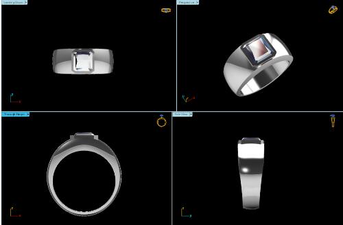 CAD Rendering of the Men's Bezel Set Ring