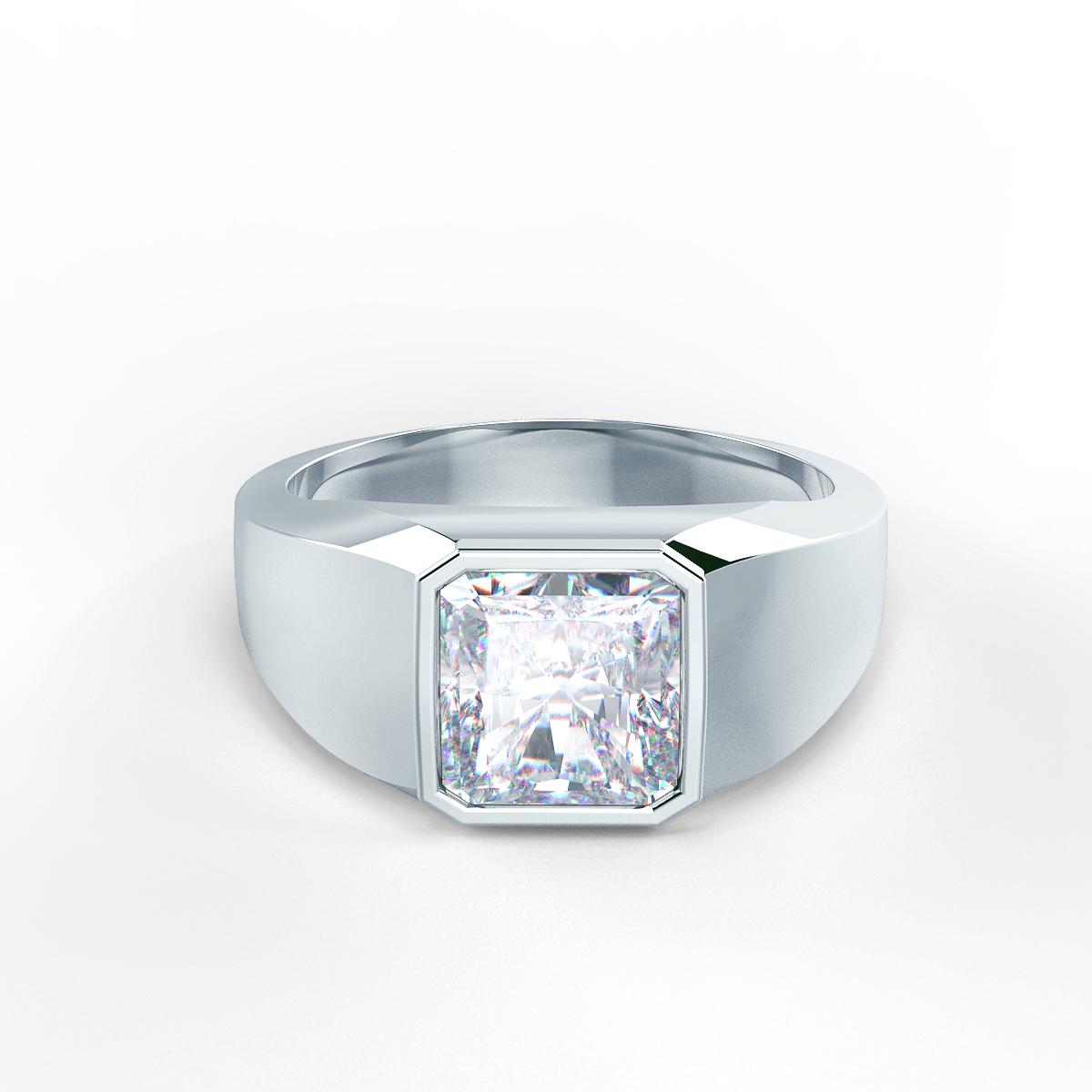 Men's Bezel Set Ring in Platinum Front View