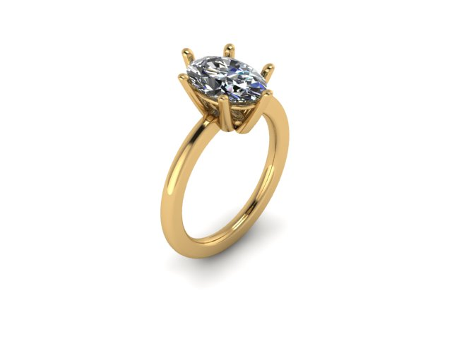 Six Prong Oval Yellow Gold Rendering