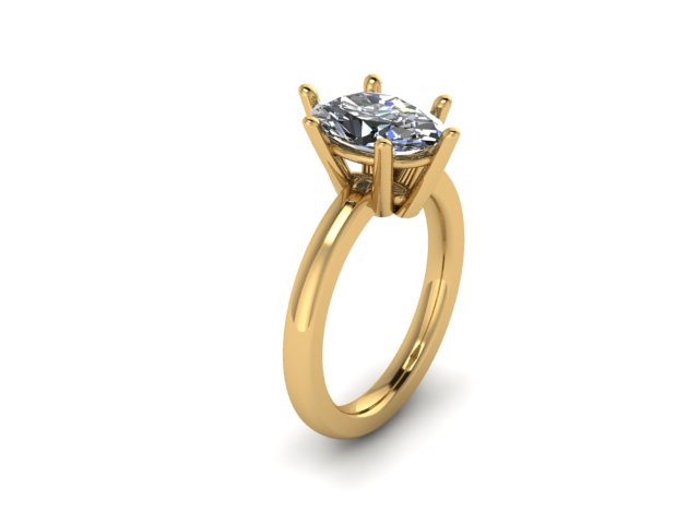 Six Prong Solitaire YG Rendering