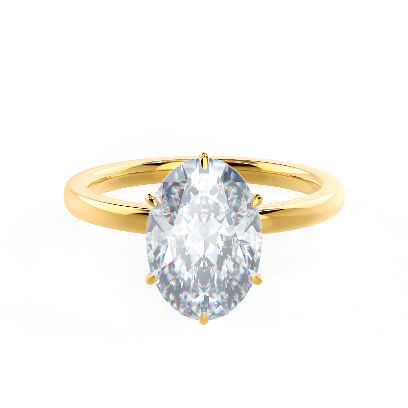 Oval Six Prong Solitaire Final Renderings Yellow Gold