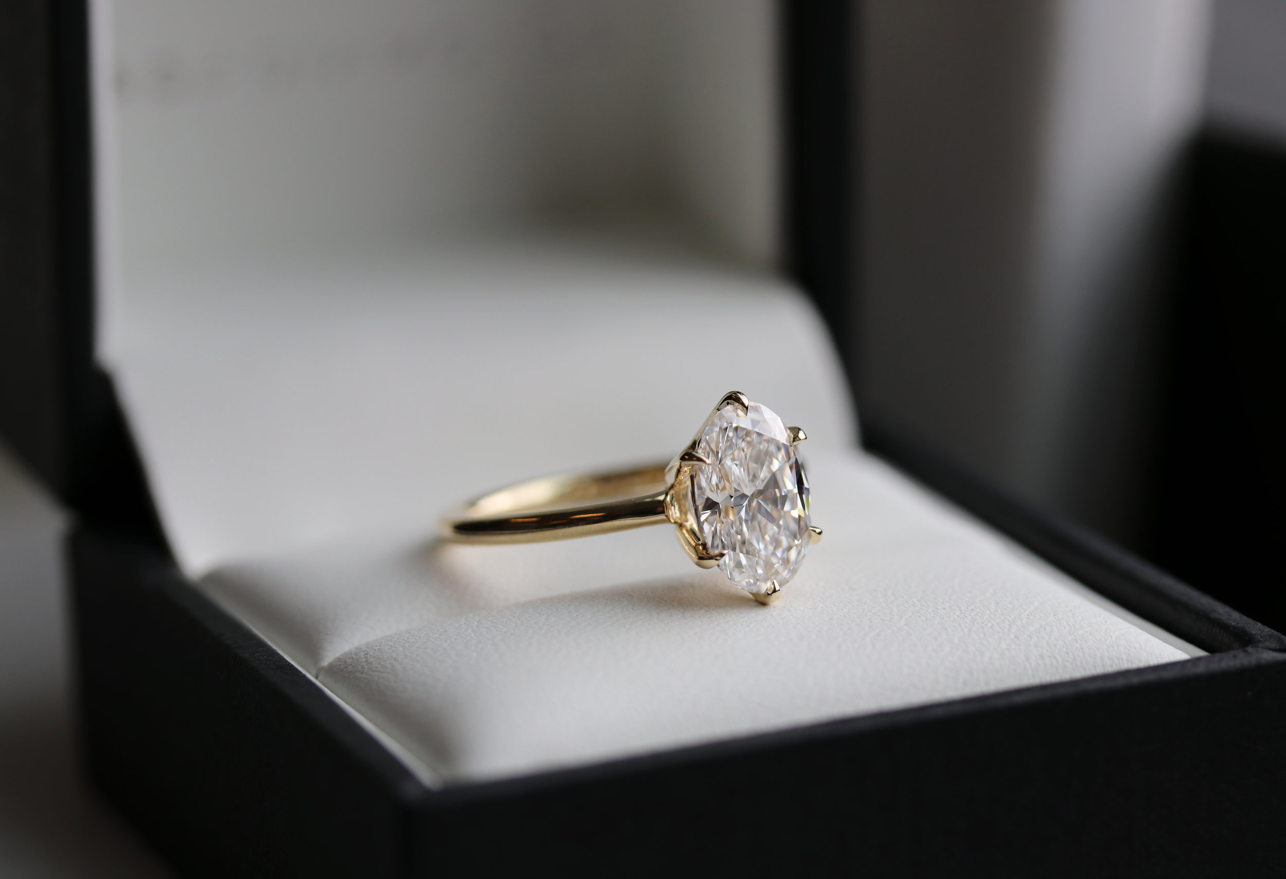 Oval Six Prong Solitaire Lab Created Diamond Engagement Ring