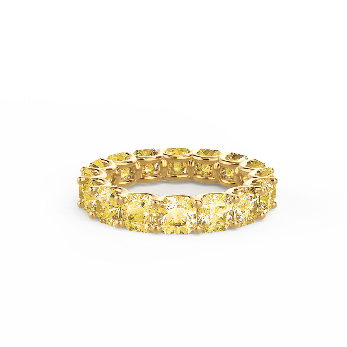 Ada's French U Radiant Eternity Band featuring yellow diamonds in yellow gold