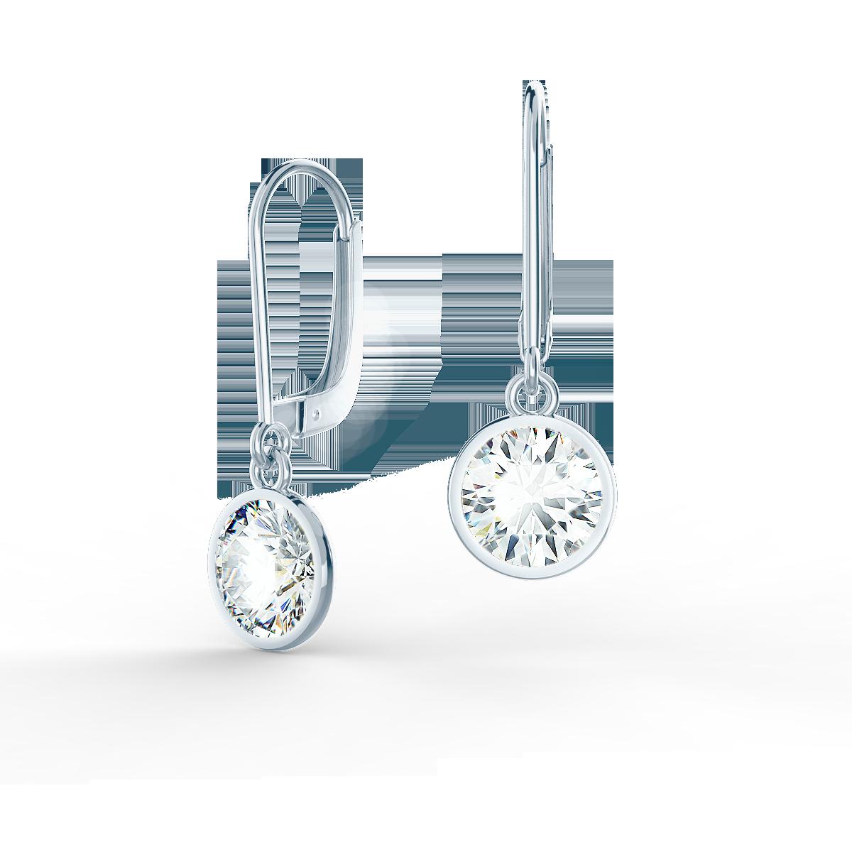 white gold single bezel lab diamond drop earrings