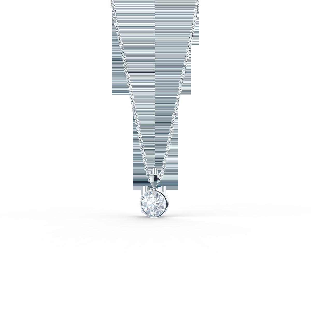 white gold lab diamond bezel set necklace