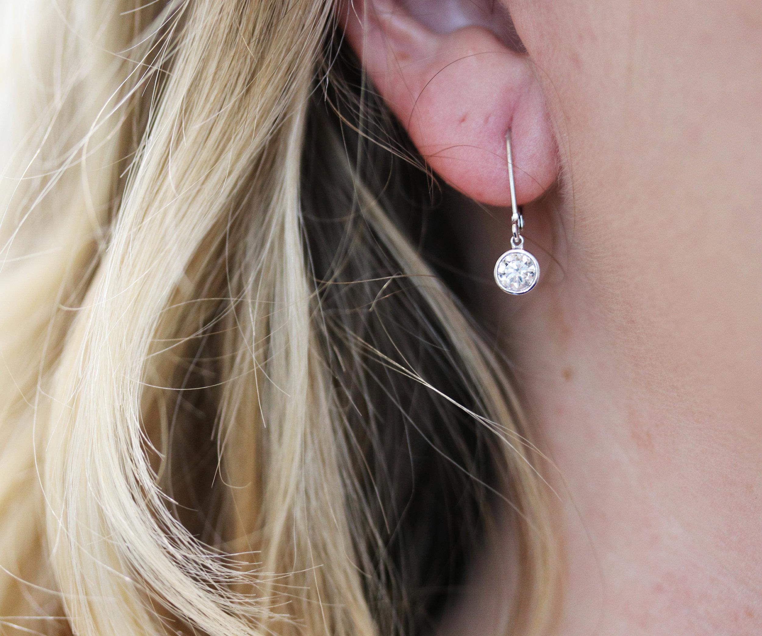 Ada Diamonds bezel drop lab grown diamond earrings in white gold