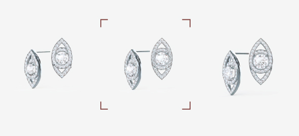 Studs with 0.5ct, 0.75ct (selected), and 1.0ct center stones.