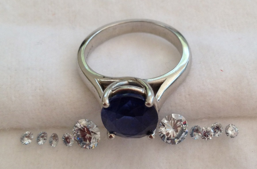 Custom lab grown diamond ands sapphire engagement ring
