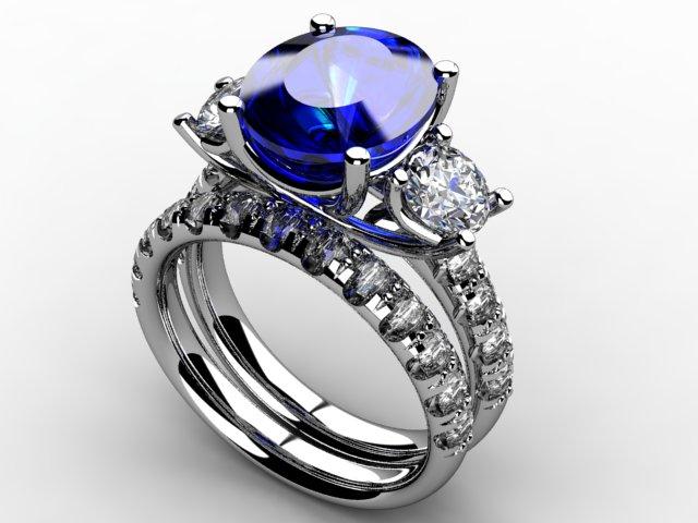 Custom sapphire and lab grown diamond engagement ring