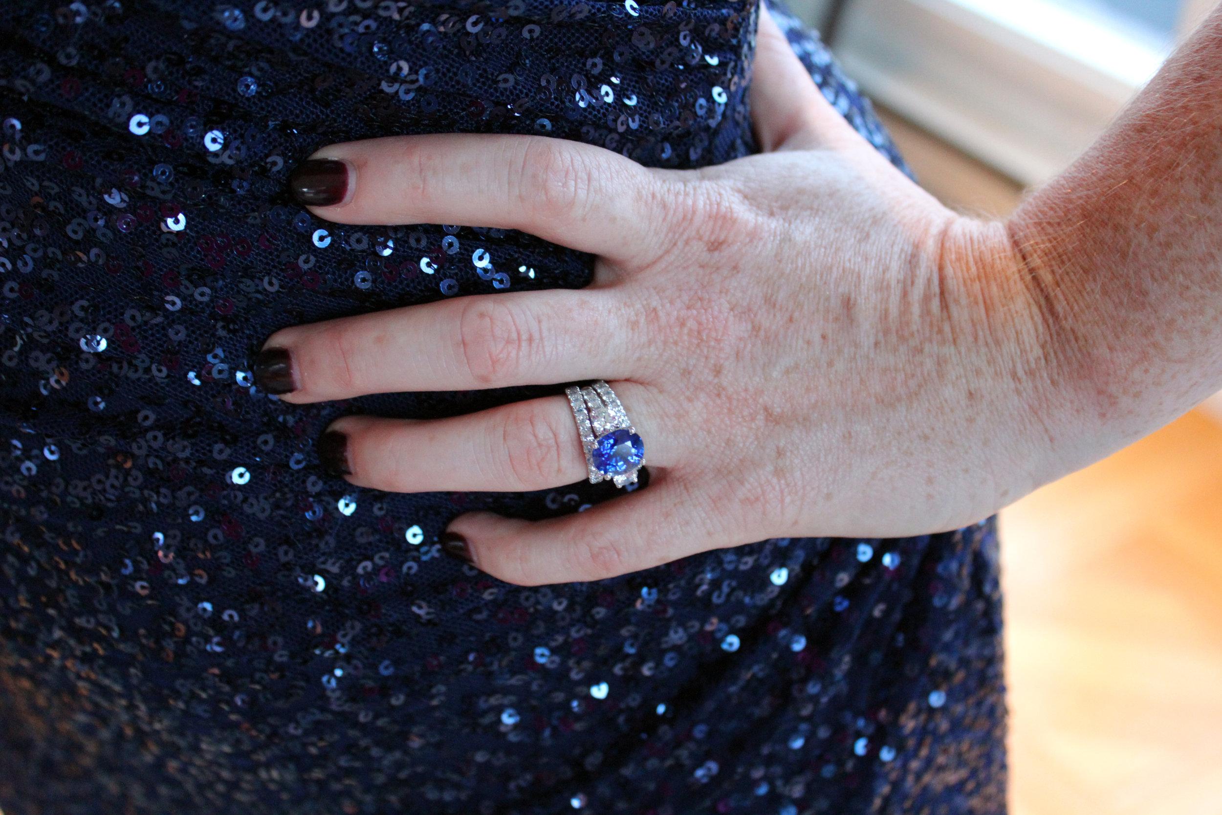 Custom sapphire and lab diamond engagement ring in platinum with lab diamond eternity band in platinum
