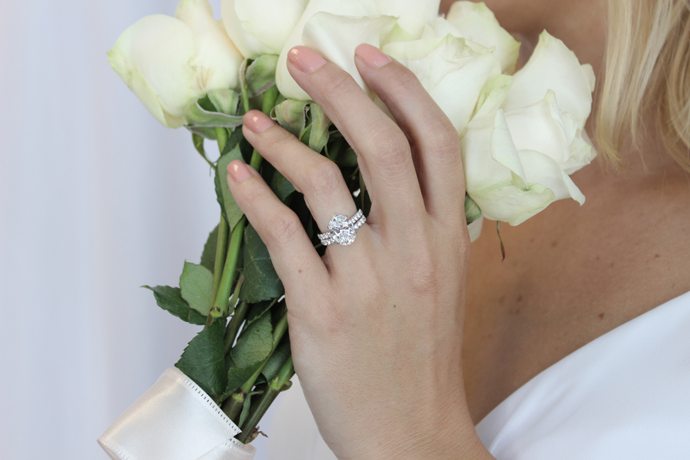 Oval Lab Created Diamond Excellent Engagement Ring