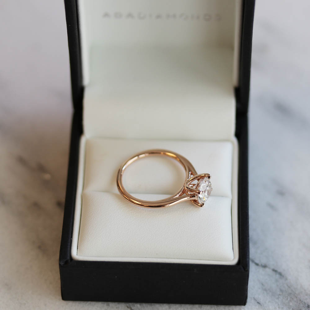 rose gold lab diamond solitaire engagement ring