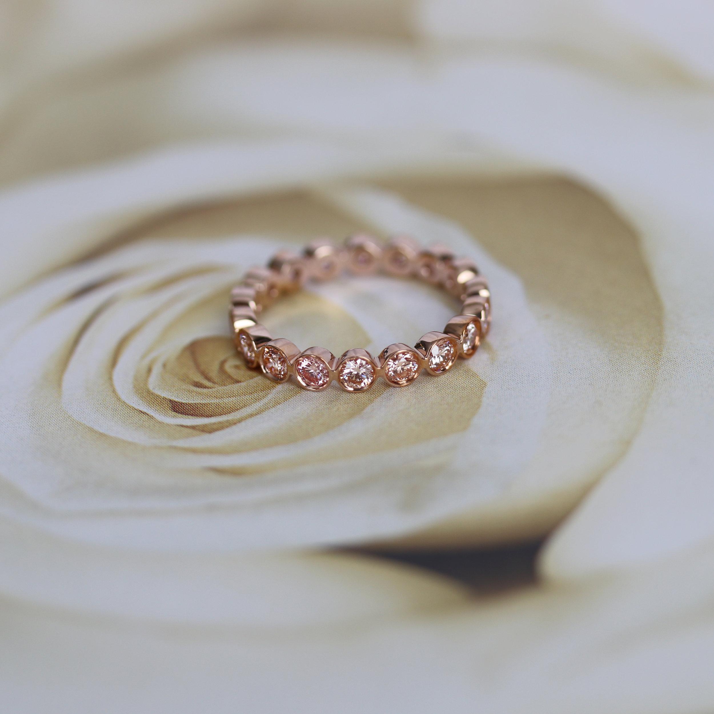 Bezel Set Pink Diamond Eternity Band in Rose Gold