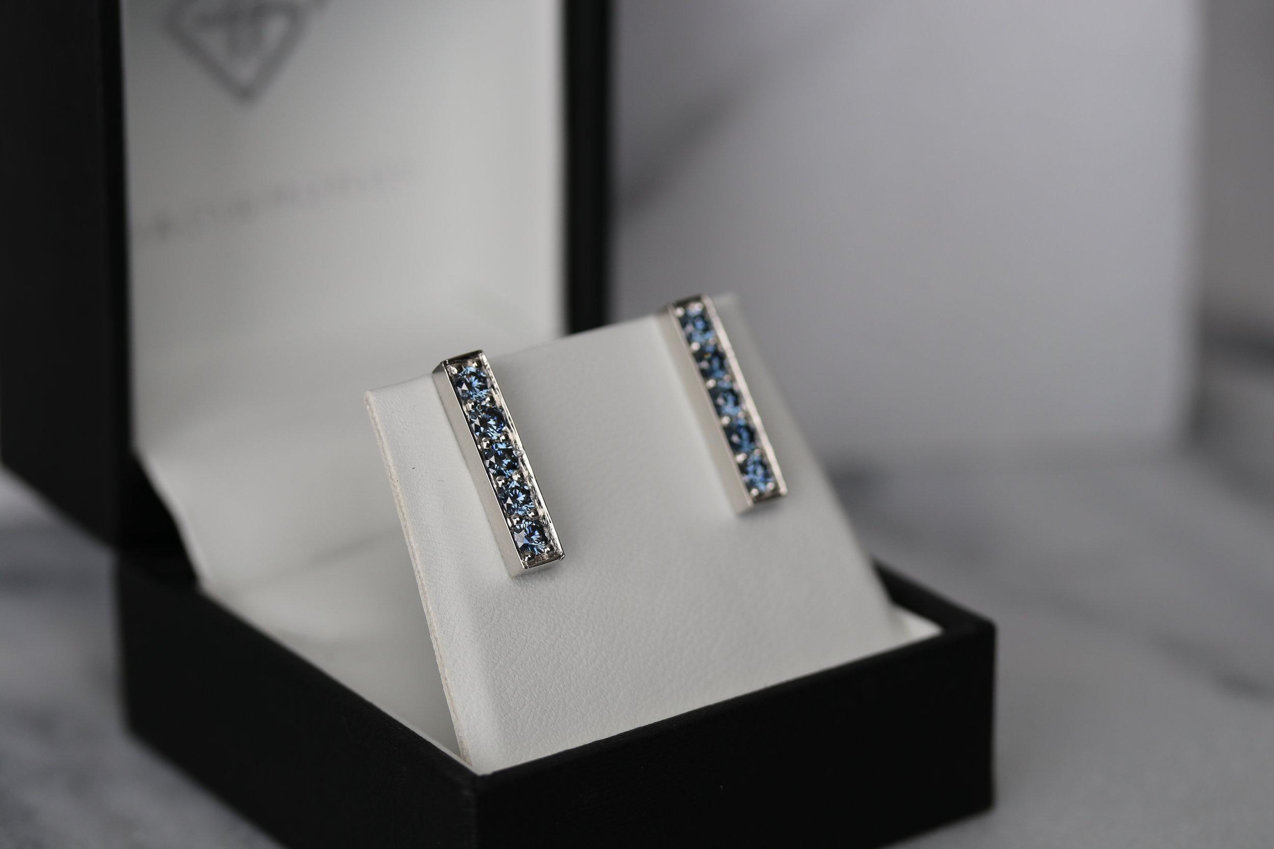 Fancy blue lab diamond stud earrings white gold Ada Diamonds