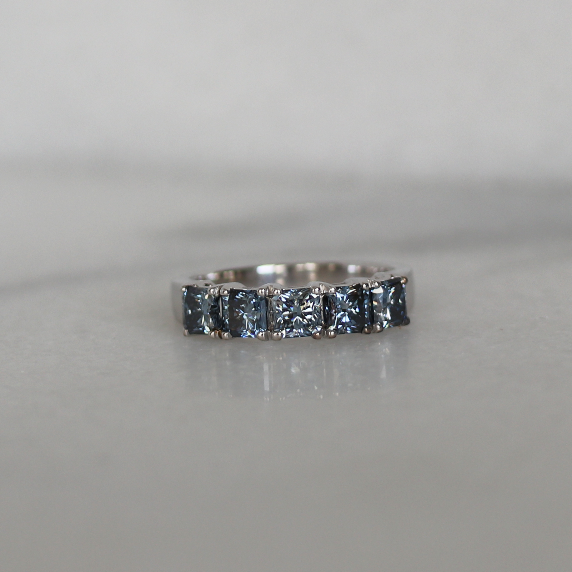 Ada Diamonds Basket Half Band Lab Grown Blue Diamonds