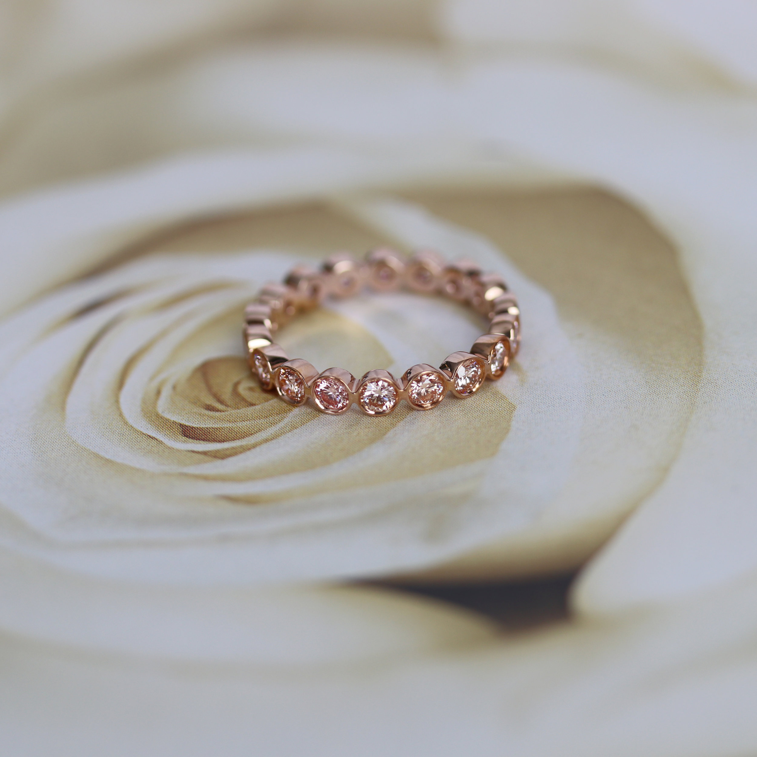 Ada Diamonds Bezel Pink Diamond Eternity Band Rose Gold